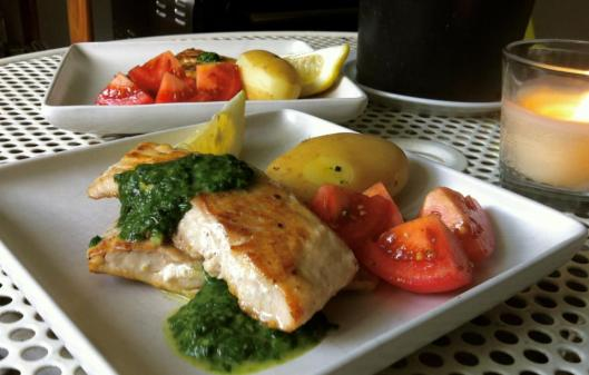 Saturday dinner: cooked salmon with pesto sauce and potato.